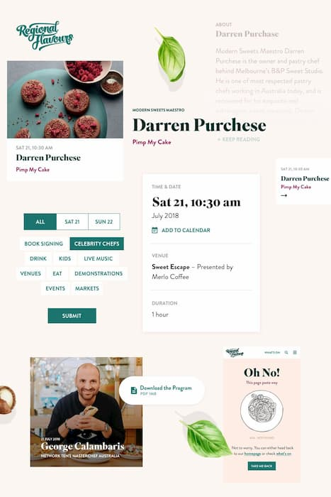 Website design concept for a food festival showing possible layout of web page